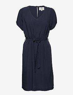 Kristina Solid Dress - NAVY BLUE