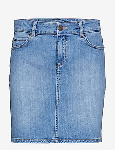 Alexa Blue Denim Skirt - LT BLUE DENIM