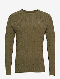 Andrew Cotton Cable Sweater - OLIVE NIGHT