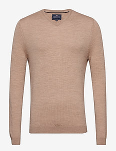 Ian Merino V-Neck Sweater - WARM SAND