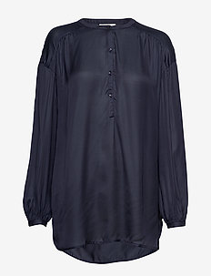 Nellie Satin Blouse - DARK BLUE
