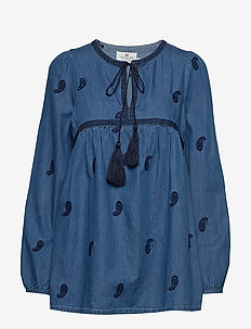 Freya Embroidery Blouse - MEDIUM BLUE DENIM