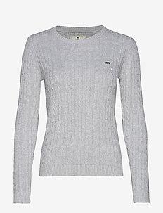 Felizia Cable Sweater - LIGHT GREY MELANGE