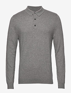 Riley Knitted Long Sleeve Polo - GRAY MELANGE