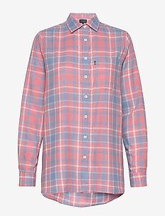 Isa Flannel Shirt - long-sleeved shirts - pink multi check