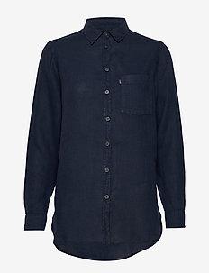 Isa Linen Shirt - dugim rękawem - blue