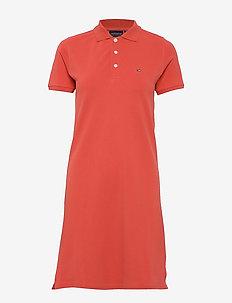 Laura Pique Polo Dress - do kolan & midi sukienki - red