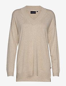 Ana V-neck Sweater - swetry - light beige melange