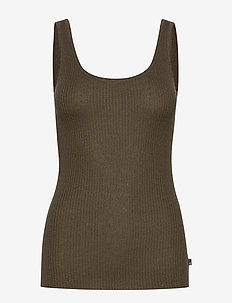 Linda Lyocell Rib Top - knitted tops & t-shirts - green