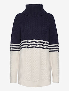 Susanne Cable Sweater - pulls - blue/white stripe