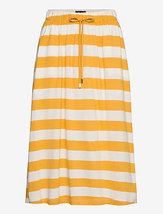 Jenni Jersey Skirt - midi kjolar - yellow/white stripe