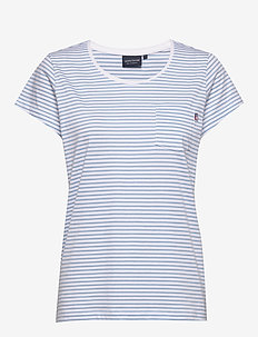 Ashley Jersey Tee - t-shirts - lt blue/white stripe