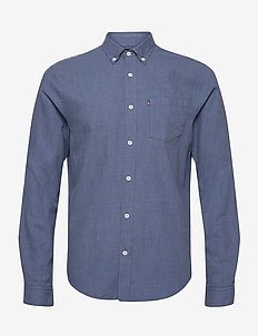 Peter Lt Flannel Shirt - podstawowe koszulki - blue melange