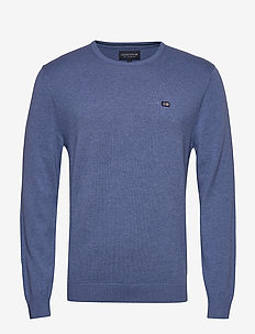 Bradley Crew Neck Sweater - basic knitwear - blue melange