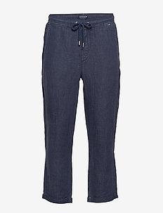 Hugh Linen Pants - casual - dark blue