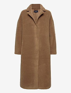 Judith Wool Blend Coat - faux fur - brown