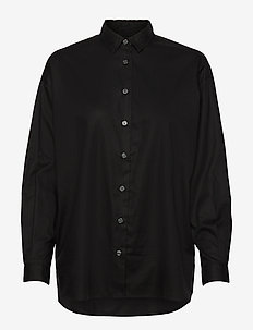Edith Lt Oxford Shirt - langærmede skjorter - black
