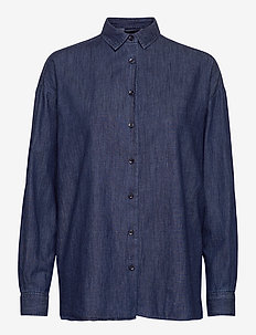Edith Denim Shirt - denimskjorter - dark blue denim