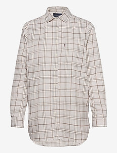 Isa Check Organic Cotton Flannel Shirt - langärmlige hemden - beige multi check