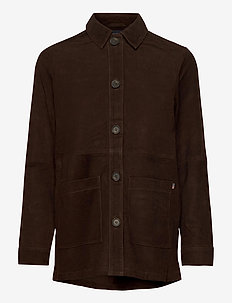 Kathy Suede Worker Shirt - overshirts - dark brown