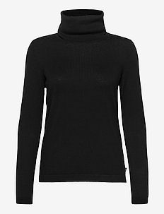 Francoise Cotton/Cashmere Roll Neck - turtlenecks - black