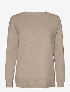 Lizzie Cotton/Cashmere Sweater - jumpers - light beige melange