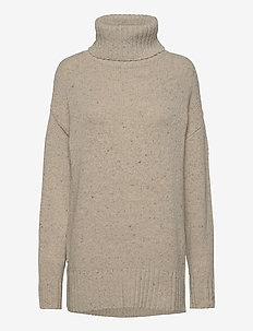 Lola Merino/Alpaca Blend Roll Neck - turtlenecks - light beige melange