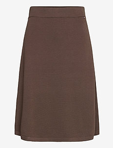 Chastity Cotton/Bamboo Knitted Skirt - midi - brown