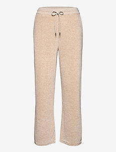 Leona Velour Pants - jogginghosen - light beige melange
