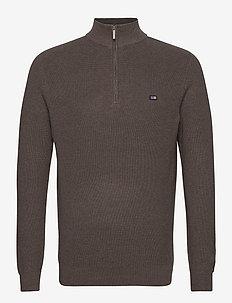 Clay Organic Cotton Half Zip Sweater - kardigany z zamkiem do połowy - brown melange