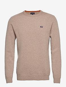 Hank Lambswool Blend Crew Neck Sweater - basisstrikkeplagg - beige melange