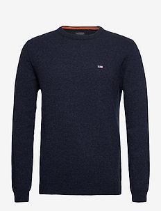 Hank Lambswool Blend Crew Neck Sweater - basisstrikkeplagg - dark blue