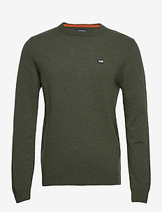 Hank Lambswool Blend Crew Neck Sweater - basisstrikkeplagg - green