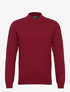 Riley Cotton/Cashmere Blend Knitted Polo - lange mouwen - dark red