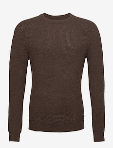 Ewan Merino Wool Blend Sweater - perusneuleet - brown