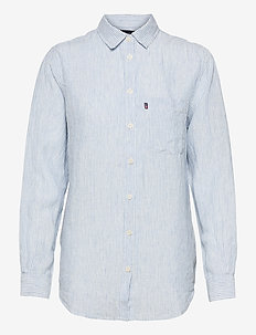 Isa Linen Shirt - långärmade skjortor - lt blue/white stripe