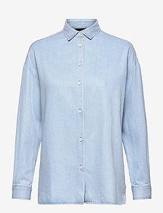 Edith Denim Tencel Shirt - jeansblouses - lt blue denim