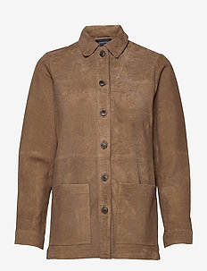 Kathy Suede Worker Shirt - overshirts - brown