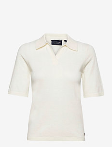 Amilia Cotton/Silk Blend Short Sleeve Knitted Polo - polohemden - offwhite