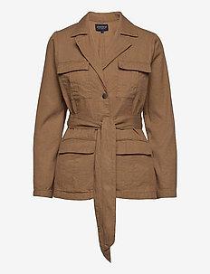 Matilda Linen Blend Blazer - casual blazers - brown