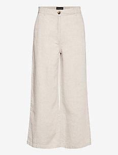 Lina Linen Pants - pantalons larges - light beige