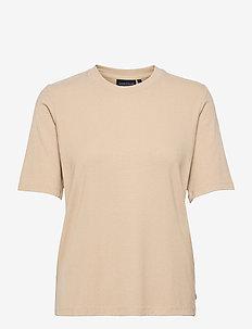 Rira Rib Tee - t-shirts - beige