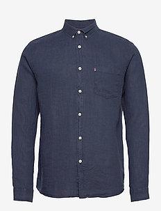 Ryan Linen Shirt - peruspaitoja - dark blue