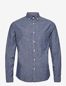Clive Chambray Shirt - peruspaitoja - medium blue denim