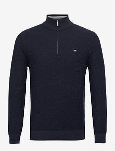 Clay Organic Cotton Half Zip Sweater - truien met halve rits - dark blue