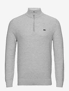 Clay Organic Cotton Half Zip Sweater - half zip - light grey melange