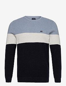 Graham Organic Cotton Waffle Knit Sweater - perusneuleet - blue multi