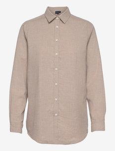Isa Organic Cotton Lt Flannel Shirt - farkkupaidat - light brown melange