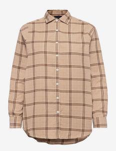 Isa Organic Cotton Flannel Shirt - farkkupaidat - beige multi check