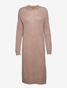 Jessa Cashmere Blend Knitted Dress - sommarklänningar - light brown melange